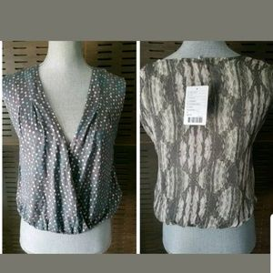 Ecote Crossover Wrap Knit Front Semi Sheer Back